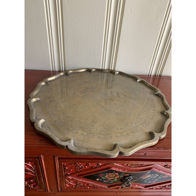 Midcentury Asian Chinoiserie Brass Etched Tray For Sale In Los Angeles - Image 6 of 13