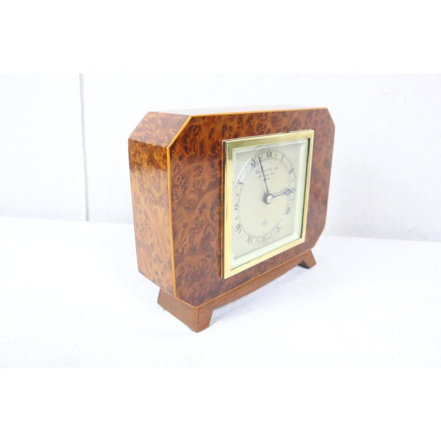 English Deco Burl Walnut Clock For Sale - Image 4 of 7