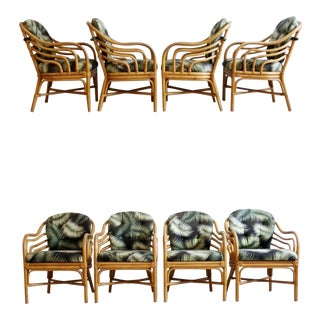 Vintage Brown Jordan Bent Rattan Armchairs With Tropical Palm Frond Cushions - Set of 8 For Sale