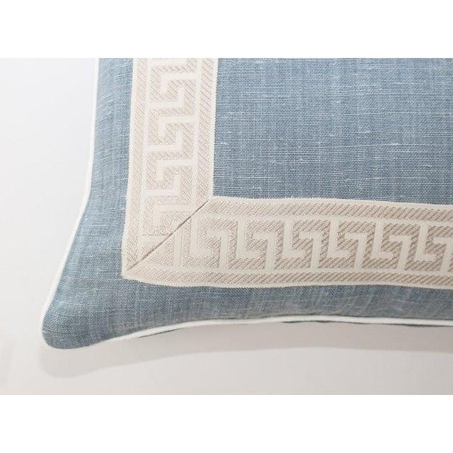 2010s Light Blue Linen Greek Key Lumbar Pillow For Sale - Image 5 of 6