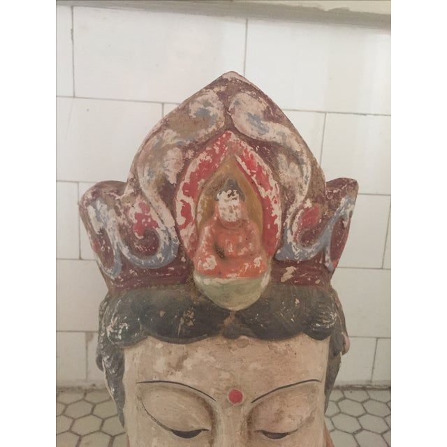 Quan Yin Terracotta Hand Painted Head - Image 3 of 8