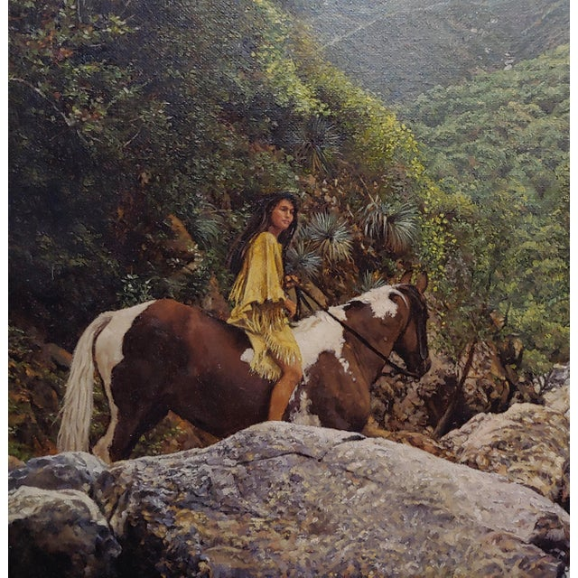 1980s Figurative Oil Painting, Indian Woman on Horseback in a Beautiful Landscape by Craig Tennant For Sale In Los Angeles - Image 6 of 10
