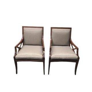 Neoclassic Cross Arm Chairs With Silk Green Stripe Upholstery - A Pair For Sale