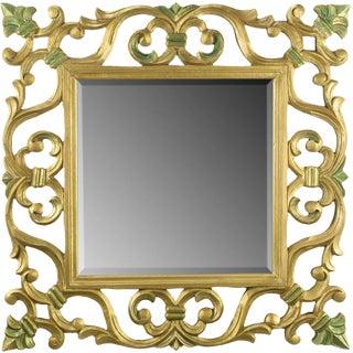 Carved Gilt Wood Mirror With Fleur-de-Lis Detail For Sale