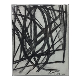 Margaret Tucker Black and White Abstract #3 in Acrylic Frame For Sale