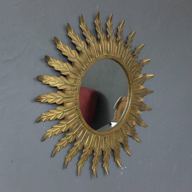 Gilt Metal Sunburst Mirror With Radiating Leaves and Traces of Green - Image 3 of 6