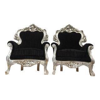 Silver & Velvet Black Throne Chairs - A Pair For Sale