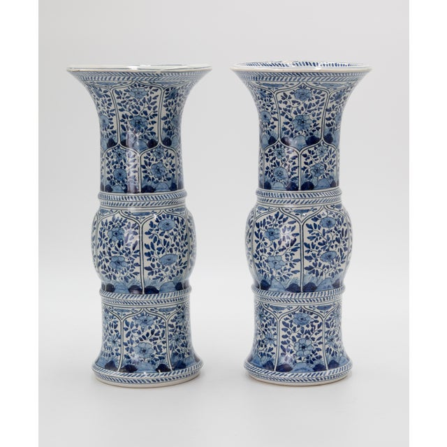 A superb pair of antique Delft vases produced by well-known Dutch earthenware factory Tichelaar Makkum, circa 1880....