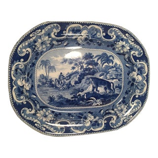 Early 19th Century Blue and White Staffordshire Platter For Sale