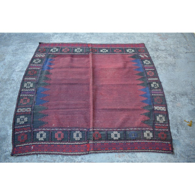 1990s Handwoven Tribal Vintage Kilim Rug - 4′4″ × 4′6″ For Sale - Image 5 of 5