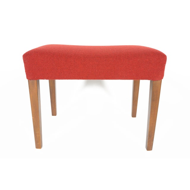 Danish Modern Crimson Wool Ottoman - Image 3 of 6
