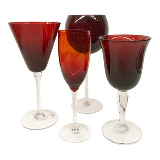 Vintage Mismatched Stemware Wine Glasses - Set of 4 For Sale