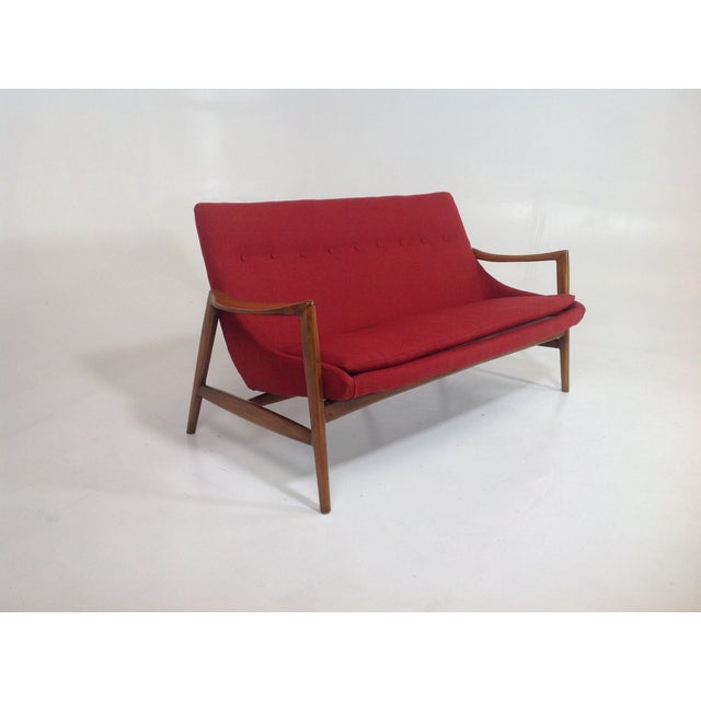 Red Chenille Mid-Century-Style Lounge Sofa - Image 3 of 6