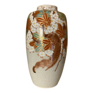 Asian Ceramic Glazed and Painted Vase For Sale