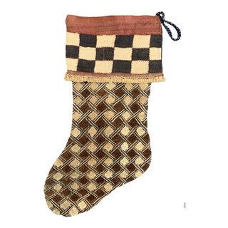 African Kuba Cloth Christmas Stocking For Sale