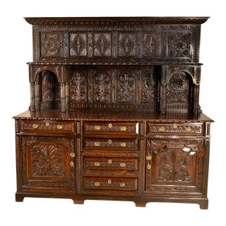 18th Century Jacobean Welsh Carved Oak Storage Cabinet For Sale