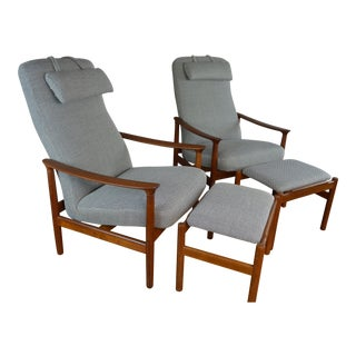 Pair of Westnofa Mid Century Teak Reclining Lounge Chairs With Ottomans