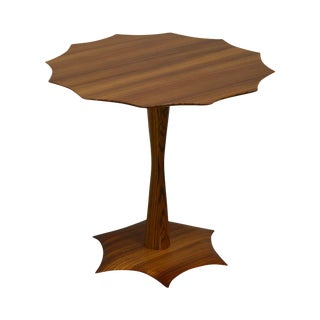 Zebrawood Studio Crafted Pedestal Side Table For Sale