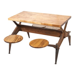 1920s Vintage Industrial Swing Stool Dining Table For Sale