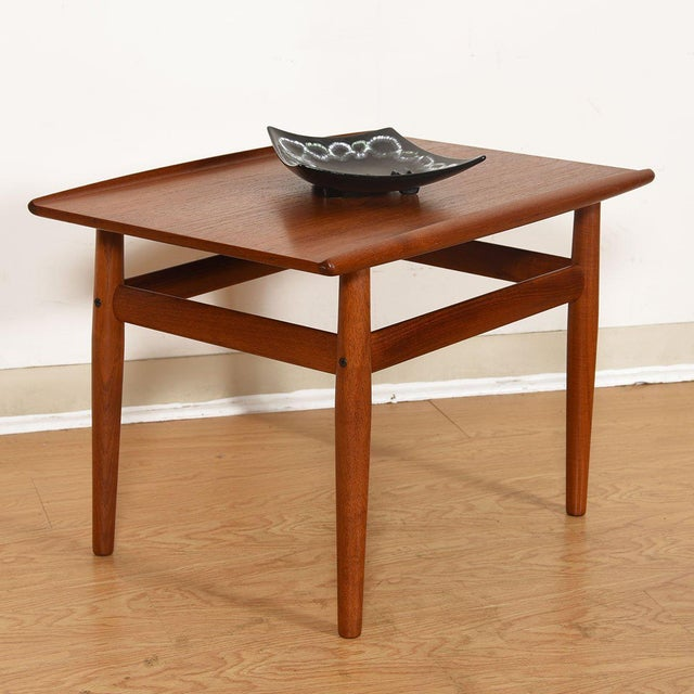 Mid 20th Century Grete Jalk Teak End / Accent Table With Raised Lip Top For Sale - Image 5 of 7