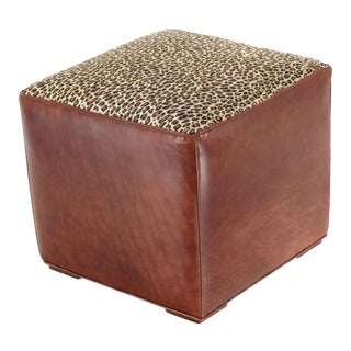 High Grade Quality Italian Leather Ottoman For Sale