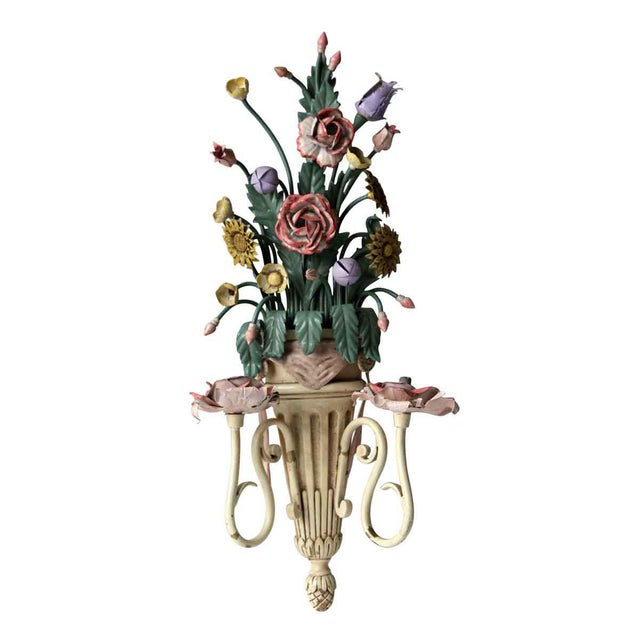 Vibrant and colorful enameled metal floral two arm Italian candlestick sconces. Please allow 1-2 weeks to process rewiring...