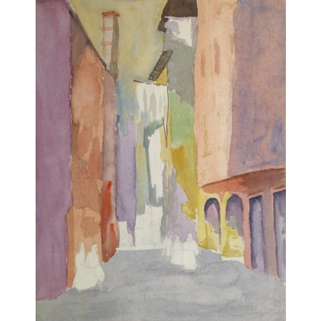 French Watercolor - Pastel Town For Sale