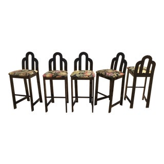 Post Modern Italian Black Lacquer Bar Stools -Set of 5 For Sale