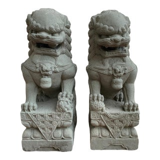 Pair Foo Dog Garden Statues For Sale