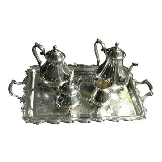Vintage Webster Wilcox Joanne Silver Plated Coffee/Tea Set With Large Tray - 6 Pieces For Sale