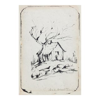 Rustic Cabin Lithograph by A. E. Armstrong For Sale