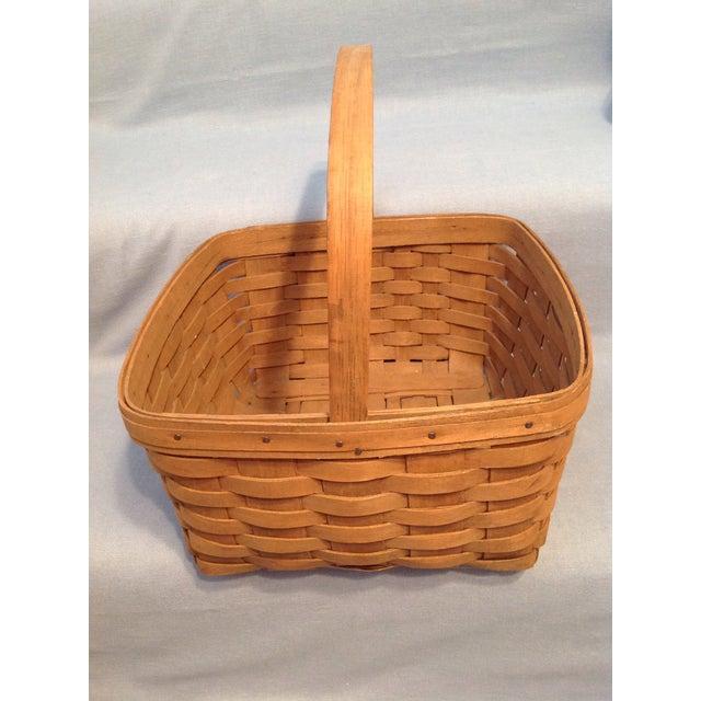 1970s 1970s Vintage Longaberger Handwoven Square Basket For Sale - Image 5 of 12