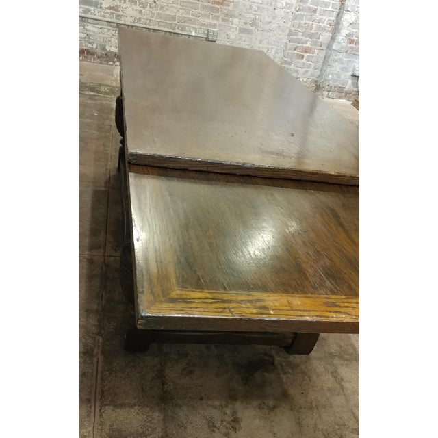 Wood 18th Century English Oak Jacobean Style Draw Leaf Refectory Table Size For Sale - Image 7 of 10