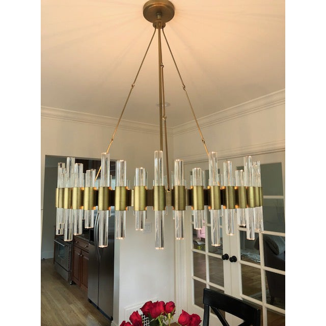 Mid-Century Modern Haskell Brass & Clear Acrylic Large Chandelier For Sale - Image 3 of 3