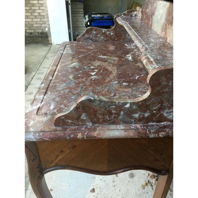 1920s French Walnut & Marble Vanity For Sale - Image 9 of 10