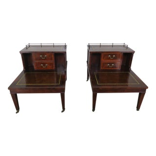 English Leather Two-Tiered Tables, Pair For Sale