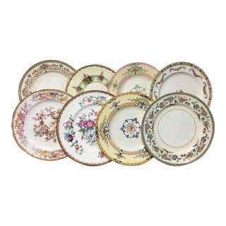 English Cottage Mixed Dinner Plates Set of 8 For Sale