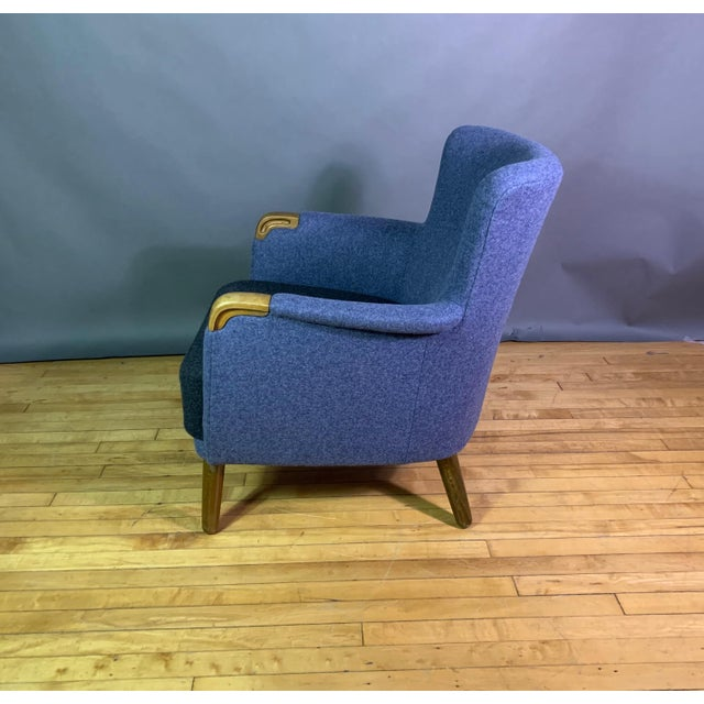 1950s Danish Armchair, New Kvadrat Felted Wool Upholstery For Sale - Image 4 of 11