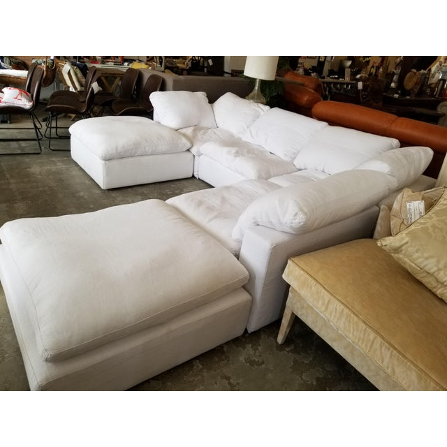 Restoration Hardware Restoration Hardware Slipcovered Cloud Modular Sofa Sectional in White Linen For Sale - Image 4 of 7