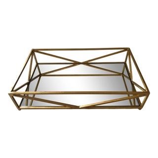 Contemporary Iron Tray With Inset Mirror in Golf Leaf For Sale
