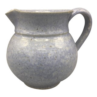 1970s Vintage Blue Devica Pottery Pitcher For Sale