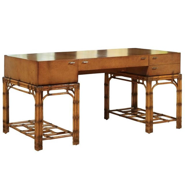Stunning Restored Vintage Double Pedestal Campaign Desk in Birdseye Maple For Sale - Image 11 of 11