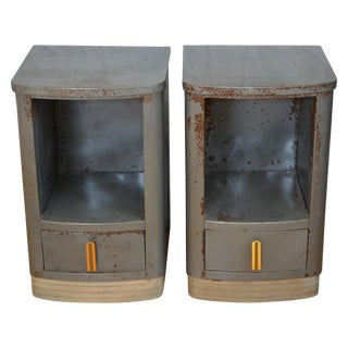 Nightstands Bedside End Tables by Bel Geddes, Steel, Art Deco, Circa 1930, Pair For Sale