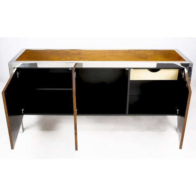 Pace Collection Koa Wood and Polished Steel Cabinet For Sale In Chicago - Image 6 of 9