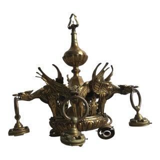 Antique Victorian Dragons Brass Chandelier