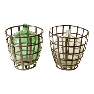 Early 20th Century French Metal Baskets with Bottles in Clear and Green Glass - 4 Pieces For Sale