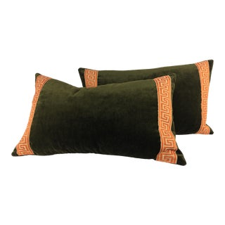 Mediterannean Plush Velvet and Greek Key Pillows – a Pair For Sale