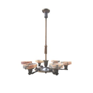 1930s Danish Art Deco Bronze & Marble Chandelier For Sale