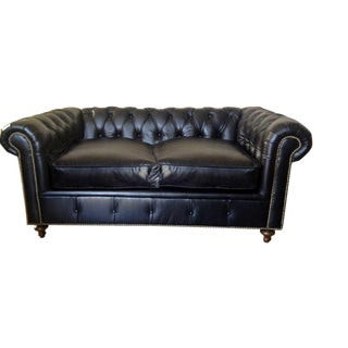 Modern Black Chesterfield Sofa For Sale