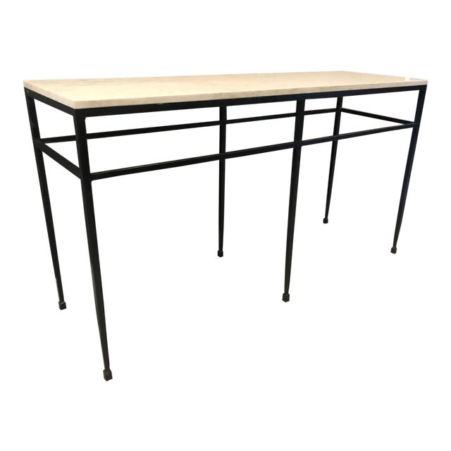 Modern Crate & Barrel Marble Console For Sale